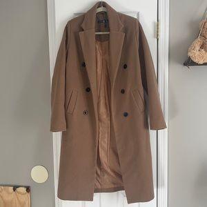 BOOHOO wool like tall camel coat